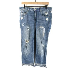 Zara Basic Light Wash Distressed Crop Jeans Size 4